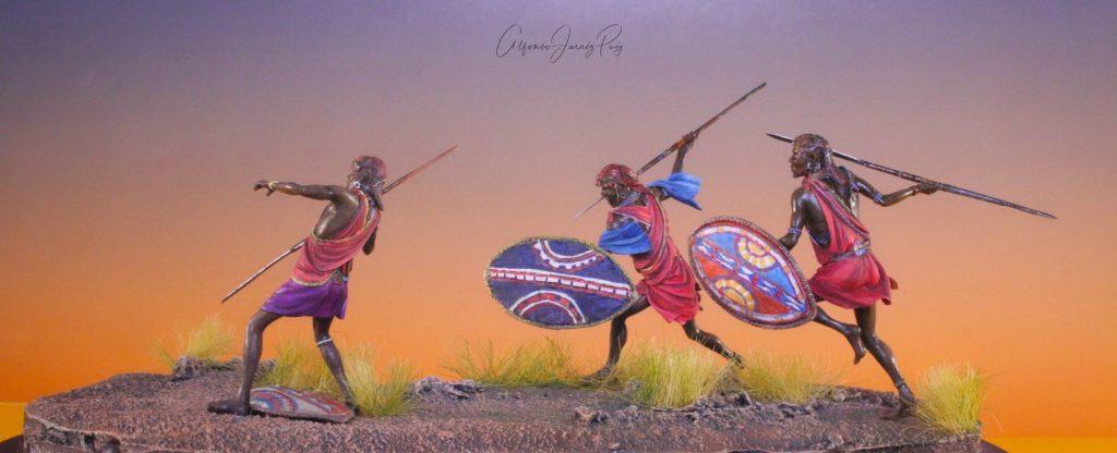 Guerreros Masai en acción escala 54mm (1:32), Altores Studio